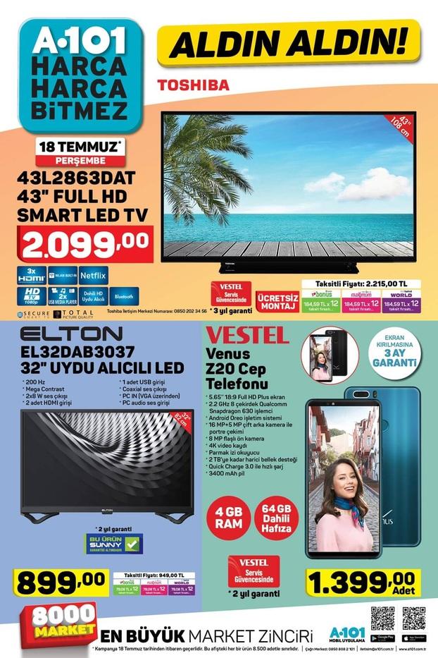 a101 18 temmuz 2019 aktuel katalogu smart tv